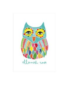 """""""Watercolor Rainbow Owl"""" - Children's Custom Art Print by Pip Gerard in beautiful frame options and a variety of sizes. I love bright, rainbow colors and that this print can be personalized"""