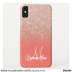 Shop Stylish rose gold ombre coral block monogram Case-Mate iPhone case created by girly_trend. Iphone Pro, New Iphone, Iphone 8 Plus, Samsung Cases, Iphone Cases, Rose Gold Ombre, Pink Phone Cases, Apple Iphone 5, Coral Pink
