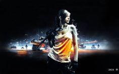 Widescreen Wallpapers: girl with gun image, Aston Peacock 2016-04-11