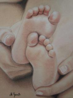 """Dessin de pieds de bébé au pastel """"Tout petits"""" : Peintures par portraitoile"""