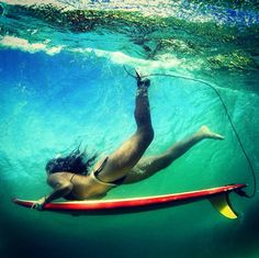 Surf girl... Duck dive...