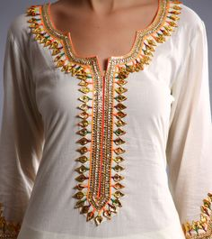 Cream Cotton Patiala Salwar Kameez With Gota Patti
