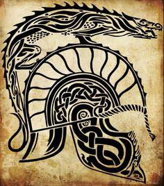 The helmet of Turin Tolkien Tattoo, Jrr Tolkien, Body Art Tattoos, Tribal Tattoos, Balrog, World Of Fantasy, The Masterpiece, Celtic Knot, Middle Earth