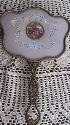 French Limoges Antique Hand Held Vanity Mirror  Victorian Lady    Beveled Edge Mirror  Edwardian Era Shabby Chic Cottage Decor. $575.00, via Etsy.