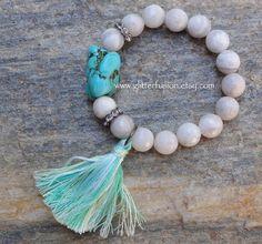 Creamy Crazy Lace Agate Turquoise Mint Tassel Bracelet