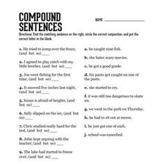 Compound Sentences Worksheet | School Time | Pinterest ...