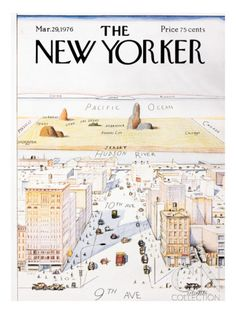 The New Yorker Cover, View of the World from 9th Avenue - March 29, 1976 Poster Print by Saul Steinberg at the Condé Nast Collection