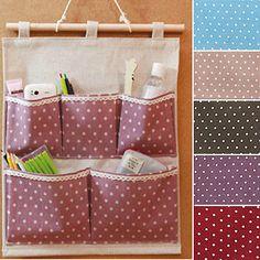 Cotton Home Polka Dot Pockets Organizer Container Wall Door Hanging Storage Bag