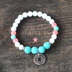 Bracelet pierres gemme, agate, turquoise, rose, blanc, charm breloque symbole étoile, style boho, bohême, hippie