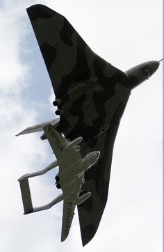 De Havilland Sea Vixen, escorting an Avro Vulcan: Actually Vulcan giving birth to Sea Vixen. This is how the Labour Government in the early 60s expected the RAF to continue to protect our shores.