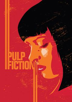 Pulp fiction minimalistic pop art poster print retro movie illustration mia wallace