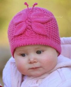Knitting pattern for Lady Butterfly Hat and more baby hat knitting patterns