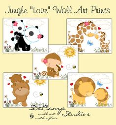 "Cute Jungle Animal ""Love"" 8x10 Wall Art Prints for baby boy or girl nursery #decampstudios"