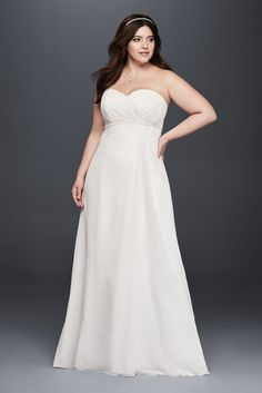4fcc49939cb Chiffon Plus Size A-Line Wedding Dress with Beaded Waist - Soft White