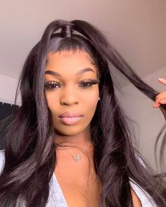 Malaysian Straight Human Hair Lace Front Wigs Natural Black Transparent Lace Density Available Black Ponytail Hairstyles, Ponytail Styles, Twist Hairstyles, Straight Hairstyles, Slick Ponytail, Hair Ponytail, Birthday Hair, 100 Human Hair Wigs, Straight Lace Front Wigs
