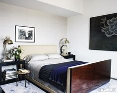 Inside Hilary Swank's New York Apartment. Her bedroom has a sense of balance with matching night stands and, again, the flowers add positive life chi to the space. Her headboard is solid and firmly attached to the bed, which will add stability to the actress's life. http://www.kenlauher.com/feng-shui-tips/bid/83449/Inside-Hilary-Swank-s-New-York-Apartment#