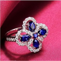 New Style Sapphire Four-Leaf Clover 925 Sterling Silver Platinum Plated Women's Ring