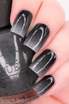 Gradient black and grey nails.