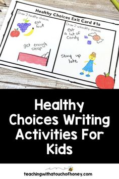 Looking for ways to integrate writing into your unit on making healthy choices? Students can write mini books, keep a journal, use hot seat questions, extend the anticipation guide, and complete exit cards. Writing Lesson Plans, Writing Lessons, Kids Writing, Writing Ideas, Health Activities, Spring Activities, Writing Activities, Activities For Kids, Learning Styles