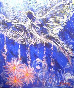 ブルーと白の組み合わせで、上品なインテリアにも合う絵です。心の平和を取り戻したい時におすすめです。香りは深くリラックス出来るものを選びます。
