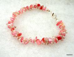 Pink Beaded Bracelet by beadnknit on Etsy, $24.00