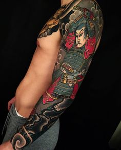 Japanese tattoo sleeve by @alexrusty. #japaneseink #japanesetattoo #irezumi #tebori #colortattoo #colorfultattoo #cooltattoo #largetattoo #armtattoo #chesttattoo #tattoosleeve #samuraitattoo #hannya #hannyatattoo #newschool #newschooltattoo #blackwork #blackink #blacktattoo #wavetattoo #naturetattoo