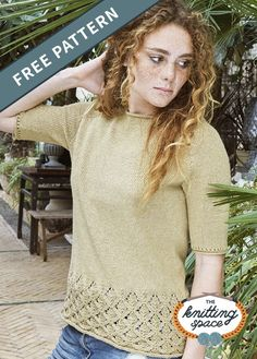 Perfect for summer outfits or outdoor walks in the park, this lightweight knitted T-shirt fetures elbow-length sleeves and diamond lace patterns. Craft it in this yellow shade or choose another color for a thoughtful handmade gift. | Discover over 4,500 free knitting patterns at theknittingspace.com #knitpatternsfree #giftideas #DIY Lace Knitting, Knitting Patterns Free, Free Pattern, Lace Patterns, Shades Of Yellow, Summer Outfits, Knitted Poncho, Walks, Casual Looks
