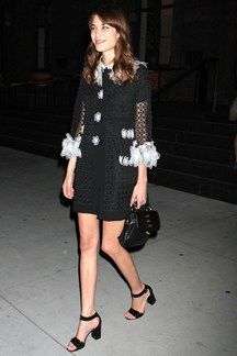Alexa Chung Photos - Celebrities leaving the performance of 'These Girls' in New York City, New York on May Pictured: Alexa Chung - Celebs Out Late in Hollywood Daily Alexa Chung, Alexa Chung Style, Alexa Alexa, Girl Fashion, Womens Fashion, Fashion 2014, Tokyo Fashion, Winter Fashion, Nice Dresses