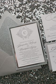 ABIGAIL Suite Fancy Glitter Package, silver wedding invitations, glitter, silver theme wedding, black tie wedding invitations, elegant wedding, letterpress