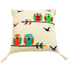 Handmade cotton khadi fabric patchwork cushion cover with 4 fringes.