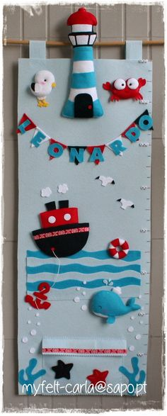 felt growth chart - cute idea to use for inspiration but I would do a jungle theme and make the animals removable for play/mdb Kids Crafts, Baby Crafts, Felt Crafts, Fabric Crafts, Diy And Crafts, Craft Projects, Sewing Projects, Projects To Try, Arts And Crafts