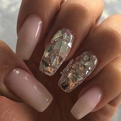 Milky pink w/ silver flakes @jessysnaglar | easy #nailart, nails - glam
