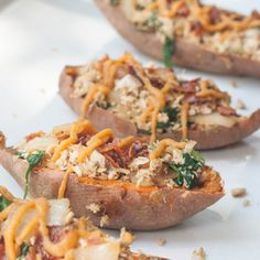 Chicken and Spinach Stuffed Sweet Potato Skins with a Sweet Potato Vinaigrette (AIP/Paleo)