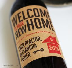 Wine Label Realtor Closing Gift,New Home, label with House, Set of 18