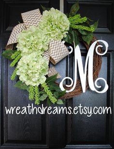Apple Green Hydrangea Grapevine Wreath with Chevron Burlap. Spring Wreath. Summer Wreath. Housewarming, Wedding, Mother's Day.