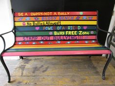 May 9, 2014~Quilting Treasures Buddy Bench ~ Take A Stand~Anti Bullying. Made by Robin Rivera