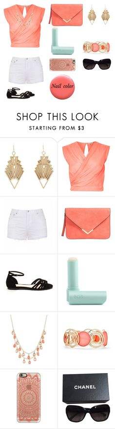 """""""Coral reef girl"""" by oonabaard ❤ liked on Polyvore featuring Charlotte Russe, River Island, Ally Fashion, Eos, Vintage America, New Directions, Casetify, Chanel and Lauren B. Beauty"""