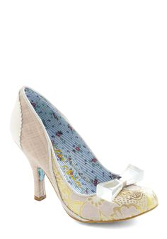 Wowie Zowie Heel in Tapestry by Irregular Choice - Tan / Cream, Gold, Solid, Floral, Bows, Formal, Prom, Wedding, Luxe, Statement, Tan