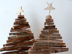 Rustic Christmas trees / set of 2 / table by CarriageOakCottage, $100.00