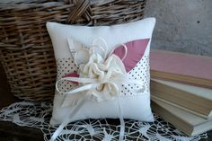 Wedding Ring Pillow. White Feathered Linen Ring Pillow