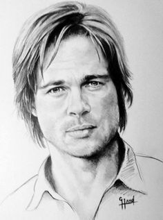 """Brad Pitt 11""""x 14"""" pencil portrait by Greg Hand .Commission a drawing from your photo"""