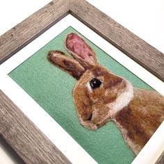 Framed Rabbit Art, Wool Painted Animal Art