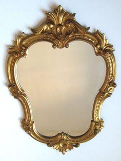Italian Rococo-Style Gold-Coloured Wooden Wall Mirror....x