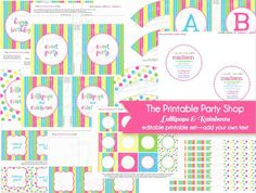 Rainbows Lollipops Printable Party Set   editable- add your own text  www.printablepartyshop.com   invitations, decorataions, cupcake toppers, cupcake wrappers, fancy labels, tags,drink flags,  printable paper    rainbow theme birthday party  lollipop theme birthday party