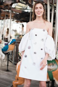 Spring 2020 Wedding Dress Trends Puffy Sleeves Lela Rose See more gorgeous wedding dresses by clicking on the photo Wedding Dress Trends, Gorgeous Wedding Dress, Wedding Gowns, Wedding Coat, Lela Rose, Bridal Fashion Week, Dream Dress, Bridal Collection, Bridal Style