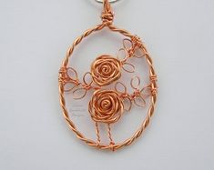 Rose necklace, copper pendant, MADE TO ORDER, roses, copper, copper anniversary, rose jewelry, copper anniversary, bridesmaid, gift for her