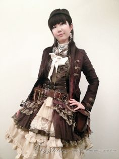 crystaline:  steampunk lolita for autumn 2012年10月20日 「東京カワイイTV」に出演しました。 Jacket - Ozz On Japan dress - Ozz On Japan west belt - Forever21 hat - axes femme belt pouch - remake skirt - bodyline (customize) over skirt - Ozz On Japan jabot - remake