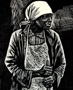 """Survivor"" 1952, linocut by Elizabeth Catlett. Catlett said that the purpose of her art is to ""present black people in their beauty and dignity for ourselves and others to understand and enjoy.""  Tags: Linocut, Cut, Print, Linoleum, Lino, Carving, Block, Woodcut, Helen Elstone,  Woman, Worker."