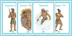Maori Gods Display Posters - nz, new zealand, Maori Gods, posters Maori Art, Interactive Activities, New School Year, Teaching Resources, Lesson Plans, New Zealand, Literacy, Preschool, Language