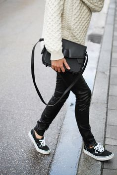cable knit + leather pants + sneakers.